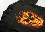 Tričko Fire Skull, Plnofarebná tlač na čierne tričko