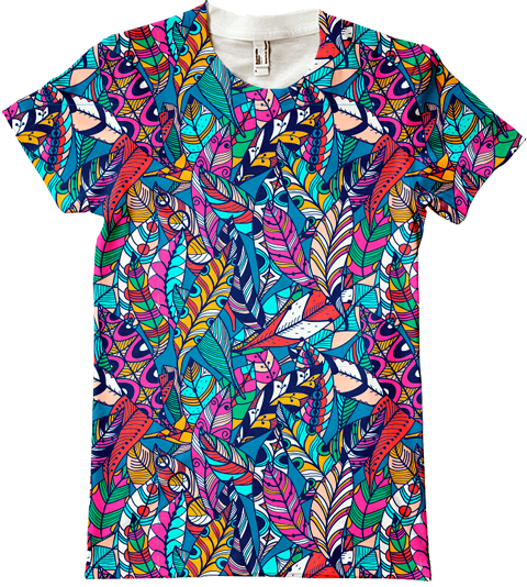 Feather pattern. Vzor pre potlač textilu či tričiek.