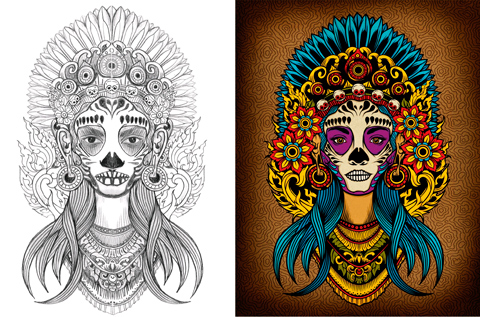 Adobe Illustrator tutorial: Create a Death Goddess inspired by Mexico's Day of the Dead