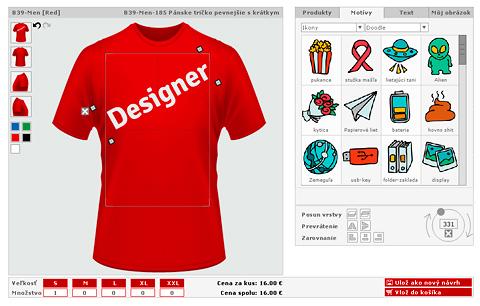 Univerzálna webová aplikácia na navrhovanie potlače tričiek.