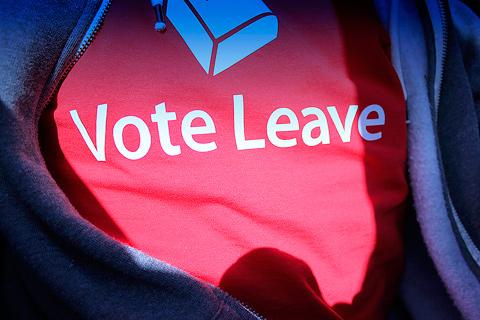 Angažovaná potlac na tričko Vote Leave