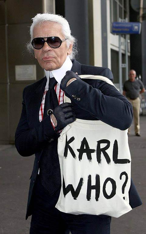 Dizajnová taška s potlačou Karl Who?