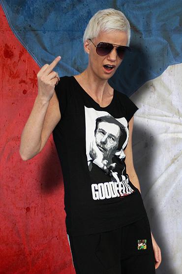 Dámské čierne tričko s krátkym rukávom motiv Václav Havel Prezident ByFenik