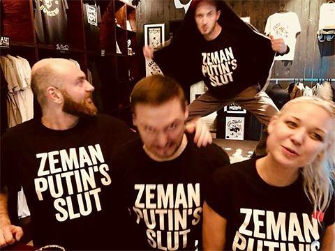 Angažované tričko s dizajnom Zeman Putin's Slot